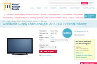 Worldwide Supply Chain Analysis: 2015 LCD TV Panel Industry
