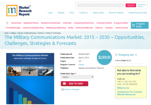 The Military Communications Market: 2015 - 2030'