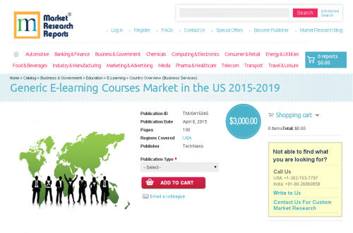 Generic E-learning Courses Market in the US 2015-2019'