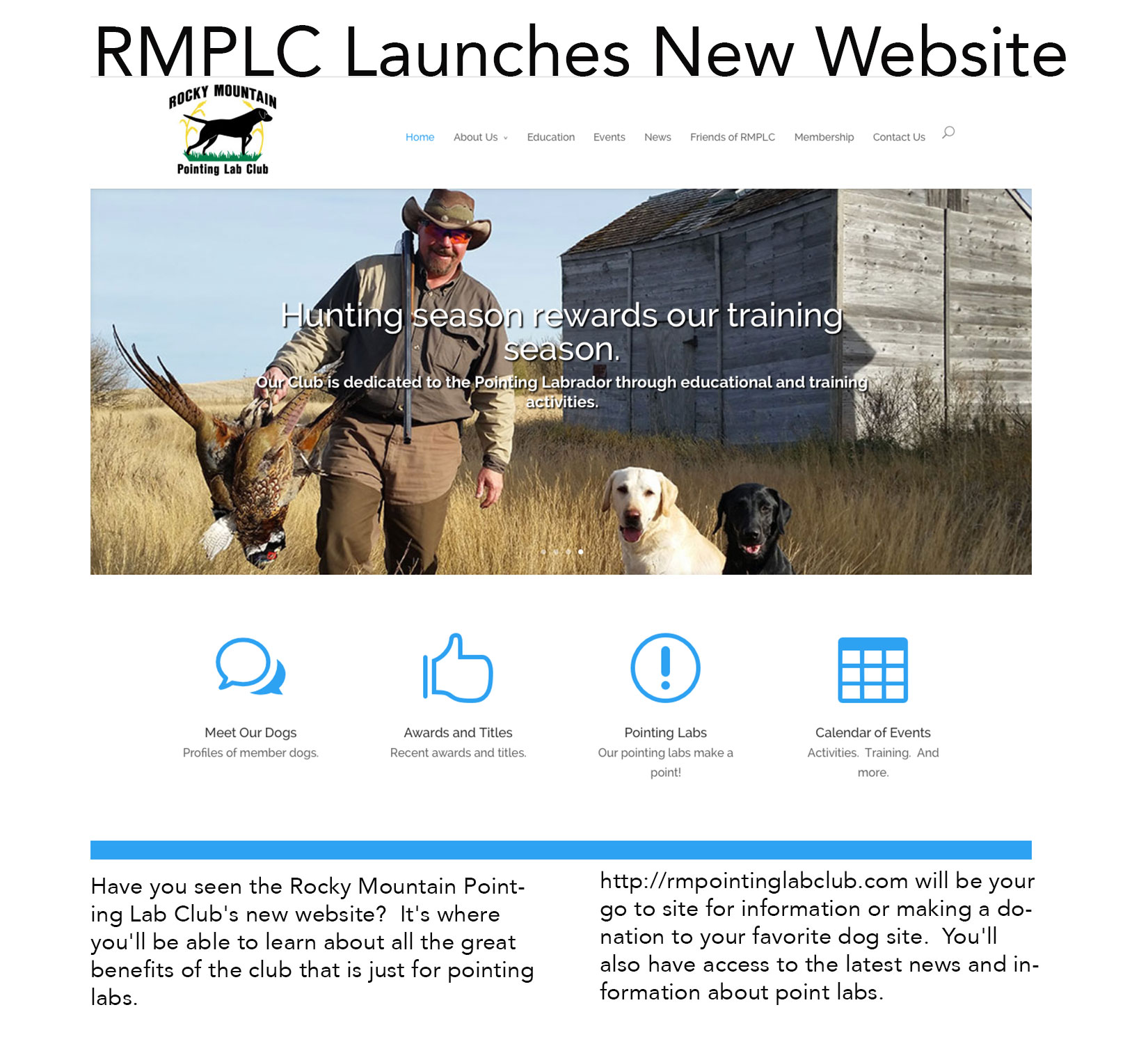 New Website Screen Shot:  RMPLC
