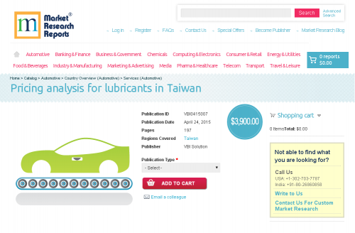 Pricing analysis for lubricants in Taiwan'