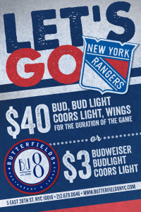 New York Rangers Specials - Butterfield 8 NYC