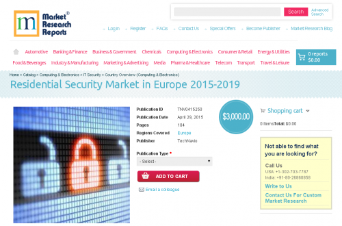 Residential Security Market in Europe 2015-2019'