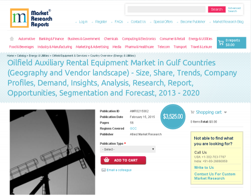 Oilfield Auxiliary Rental Equipment Market in Gulf Countries'