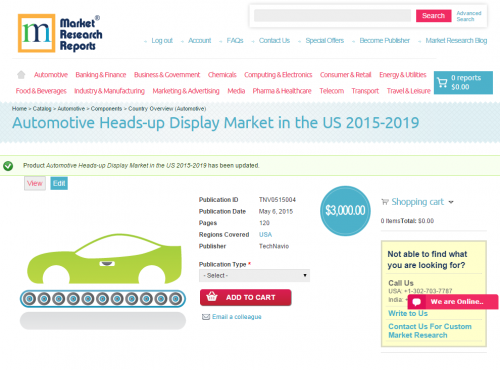 Automotive Heads-up Display Market in the US 2015-2019'