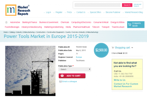 Power Tools Market in Europe 2015-2019'