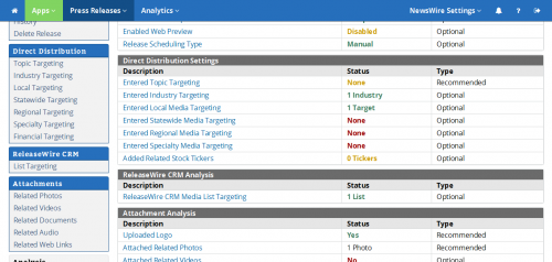 ReleaseWire MediaWire - Targeting Options'