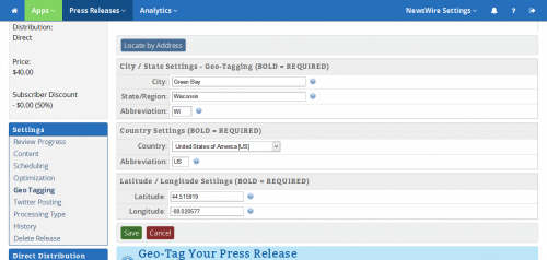 ReleaseWire MediaWire - Geo-Tagging'