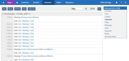 ReleaseWire CRM - Daily Calendar'