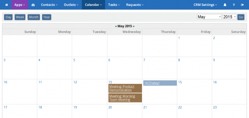 ReleaseWire CRM - Monthly Calendar'