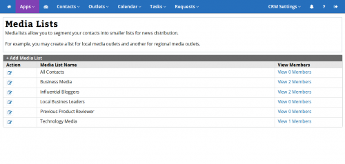 ReleaseWire CRM - Media List Management'