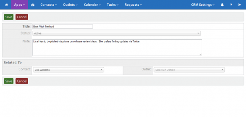 ReleaseWire CRM - Account Notes'