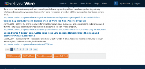 ReleaseWire for Publishers - Custom RSS Feeds'