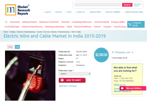 Electric Wire and Cable Market in India 2015 - 2019'