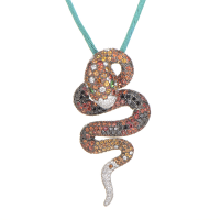 the Italian Collection 18K White Gold Gemstone Serpent Penda
