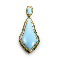 18K Yellow Gold Turquoise & Tsavorite Enhancer Penda