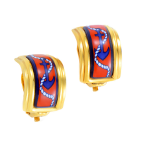 Gold Plated Nautical Enamel Clip On Earrings by Herm&egr