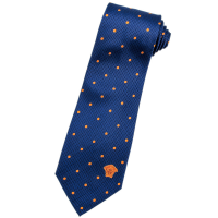 blue and orange polka dot 100% Italian Silk Neck Tie by Vers
