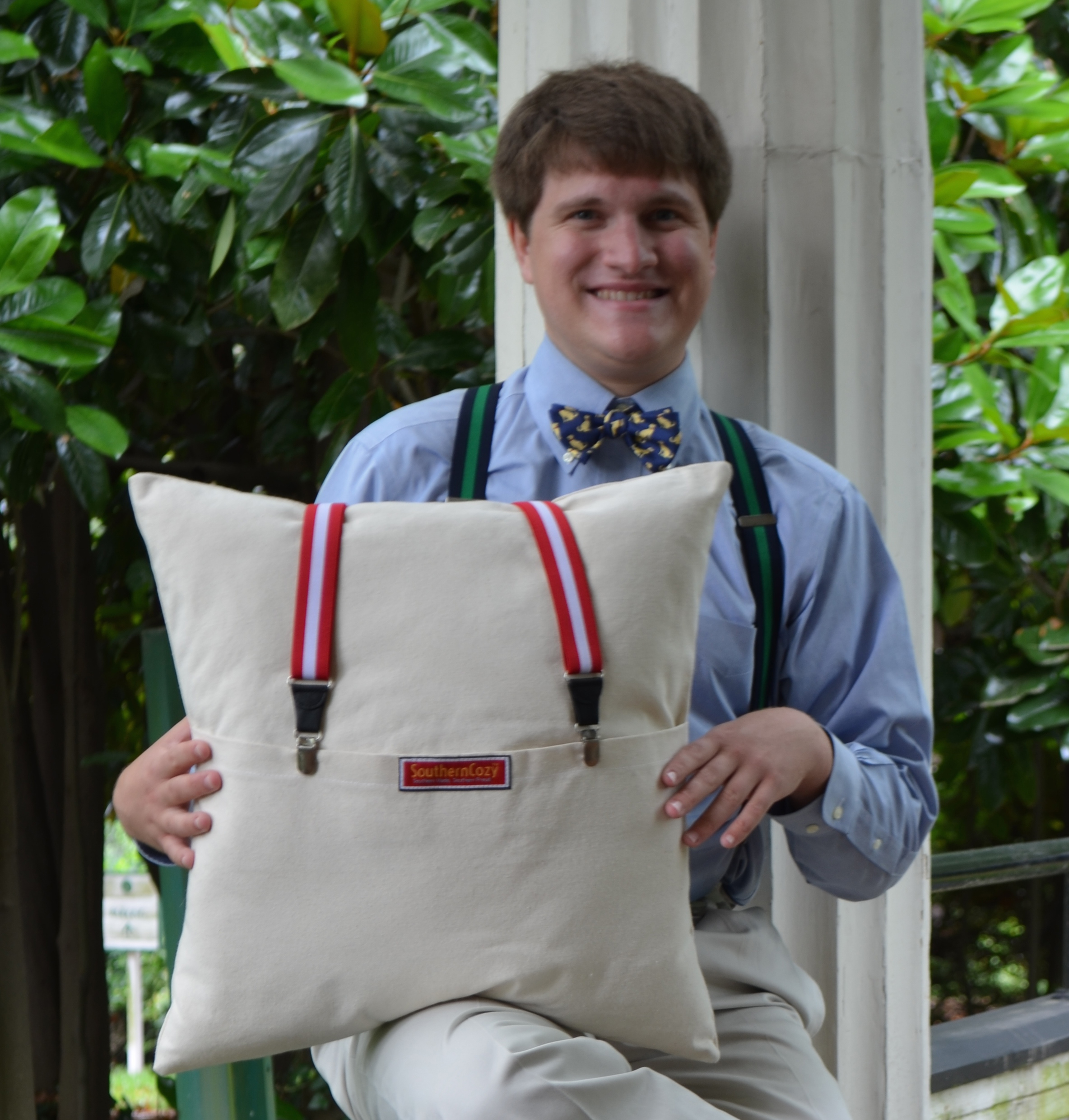 Chris Steiner and SouthernCozy Suspender Pillow