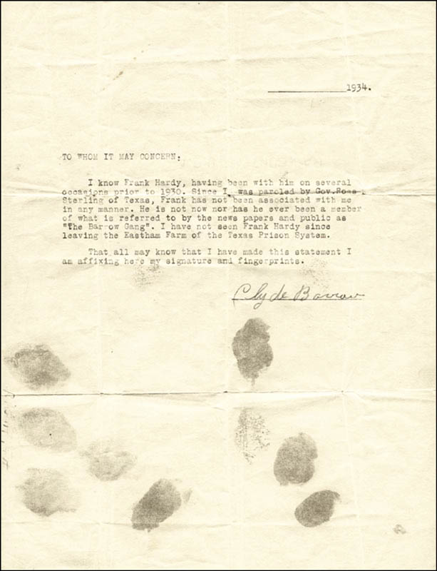 Clyde Barrow - Typed Letter Signed 1934