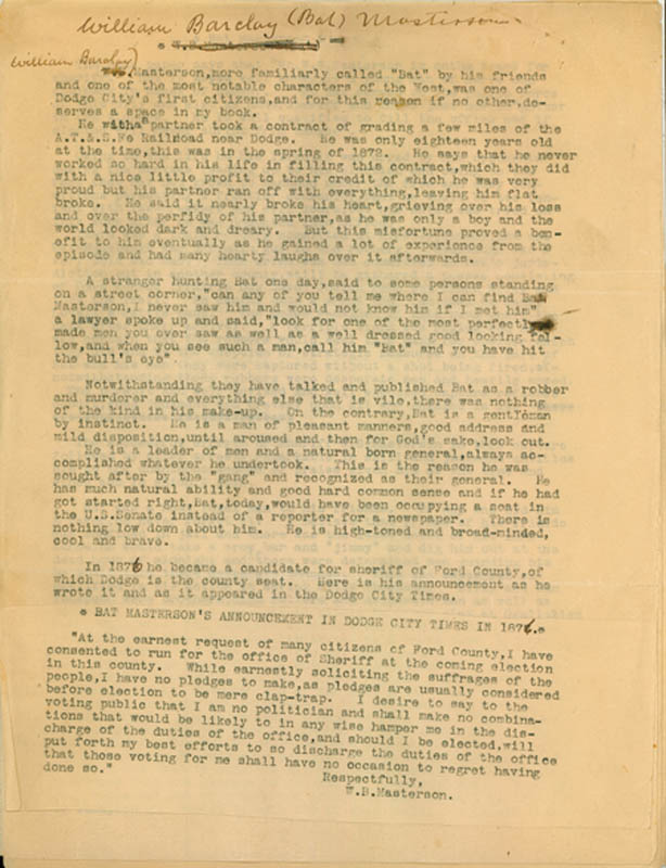 William Barclay Bat Masterson - Annotated Typed Manuscript