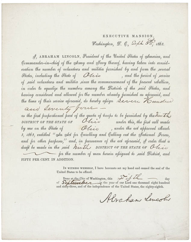 President Abraham Lincoln - Document Signed 09/05/1863