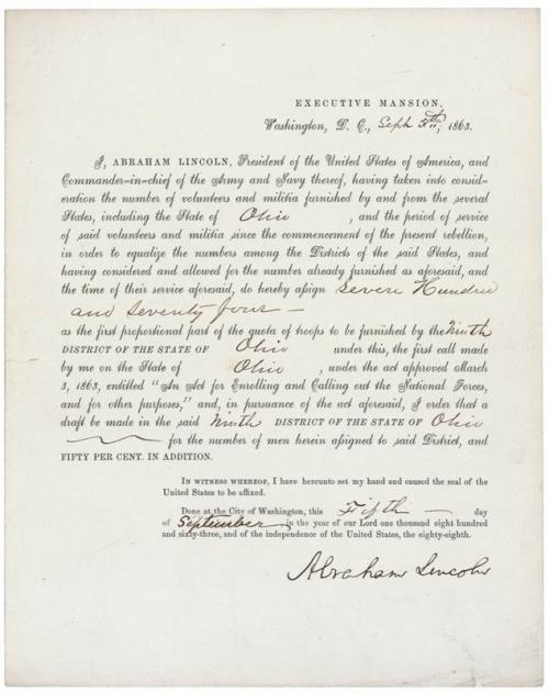 President Abraham Lincoln - Document Signed 09/05/1863'