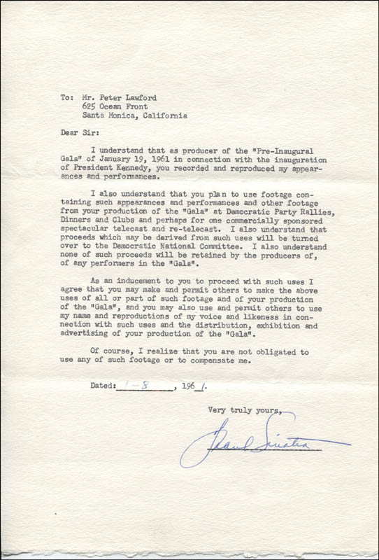 Frank Sinatra - Typed Document Signed 01/08/1961