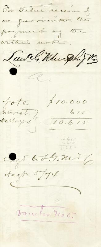 James J. Dolan - Promissory Note Signed 04/01/1874
