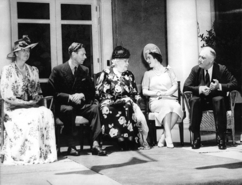 The Roosevelts and The Royals enjoying the porch.'