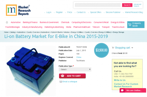 Li-on Battery Market for E-Bike in China 2015-2019'