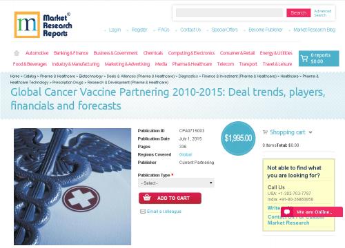 Global Cancer Vaccine Partnering 2010-2015'