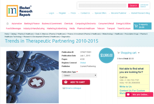 Trends in Therapeutic Partnering 2010-2015'