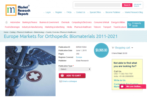 Europe Markets for Orthopedic Biomaterials 2011-2021'