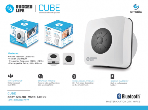 Ematic Rugged Life Cube Bluetooth Shower Speaker'
