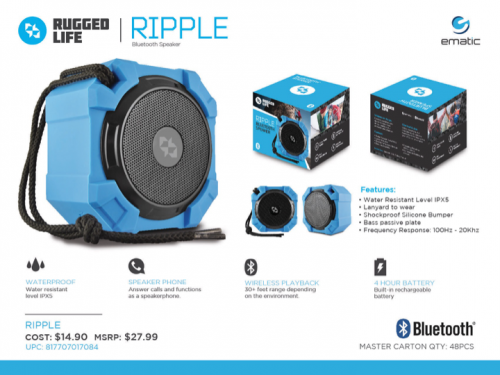 Ematic Rugged Life Ripple Bluetooth Speaker'