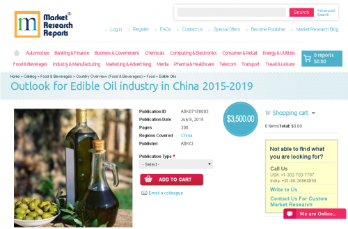 Outlook for Edible Oil industry in China 2015-2019'