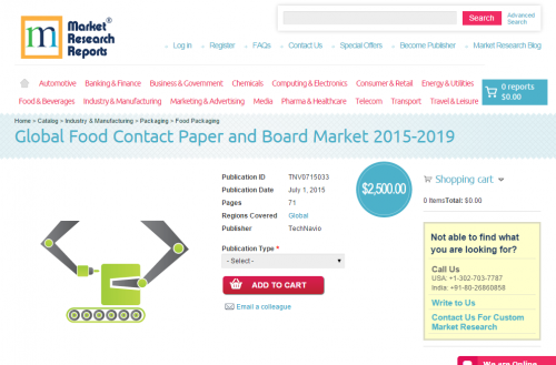 Global Food Contact Paper and Board Market 2015-2019'