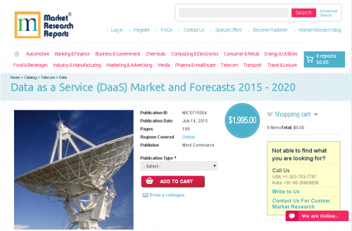 Data as a Service (DaaS) Market and Forecasts 2015 - 2020'
