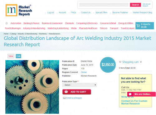 Global Distribution Landscape of Arc Welding Industry 2015'