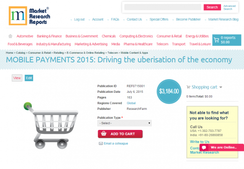 MOBILE PAYMENTS 2015: Driving the uberisation of the economy'