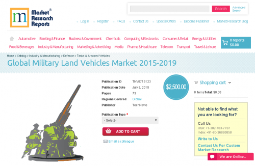 Global Military Land Vehicles Market 2015-2019'