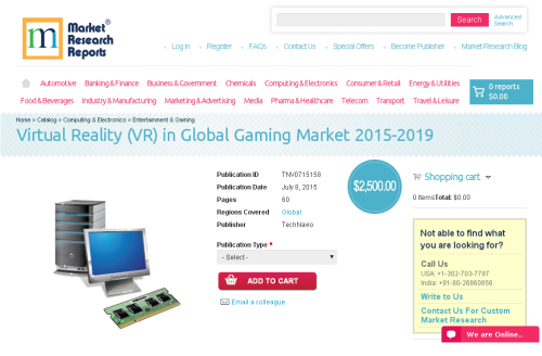 Virtual Reality (VR) in Global Gaming Market 2015-2019'
