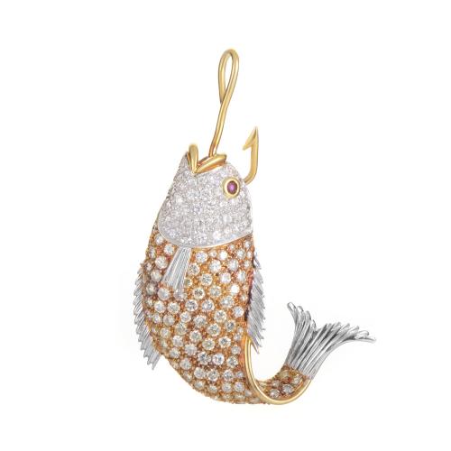 18K Multi-Tone Gold Gemstone Fish Pendant for $4,500'