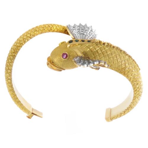Multi-Tone Gold & Precious Gemstone Fish Bangle for'