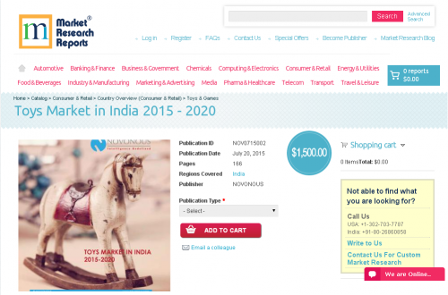 Toys Market in India 2015 - 2020'
