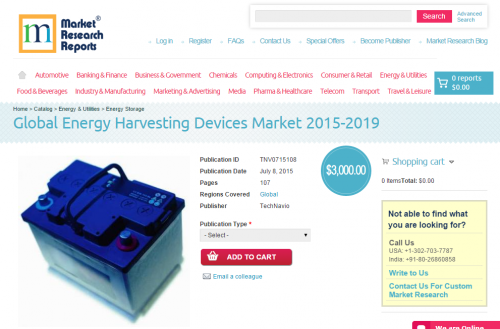 Global Energy Harvesting Devices Market 2015-2019'