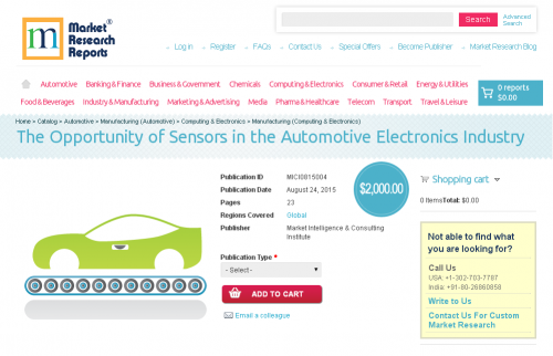The Opportunity of Sensors in the Automotive Electronics'