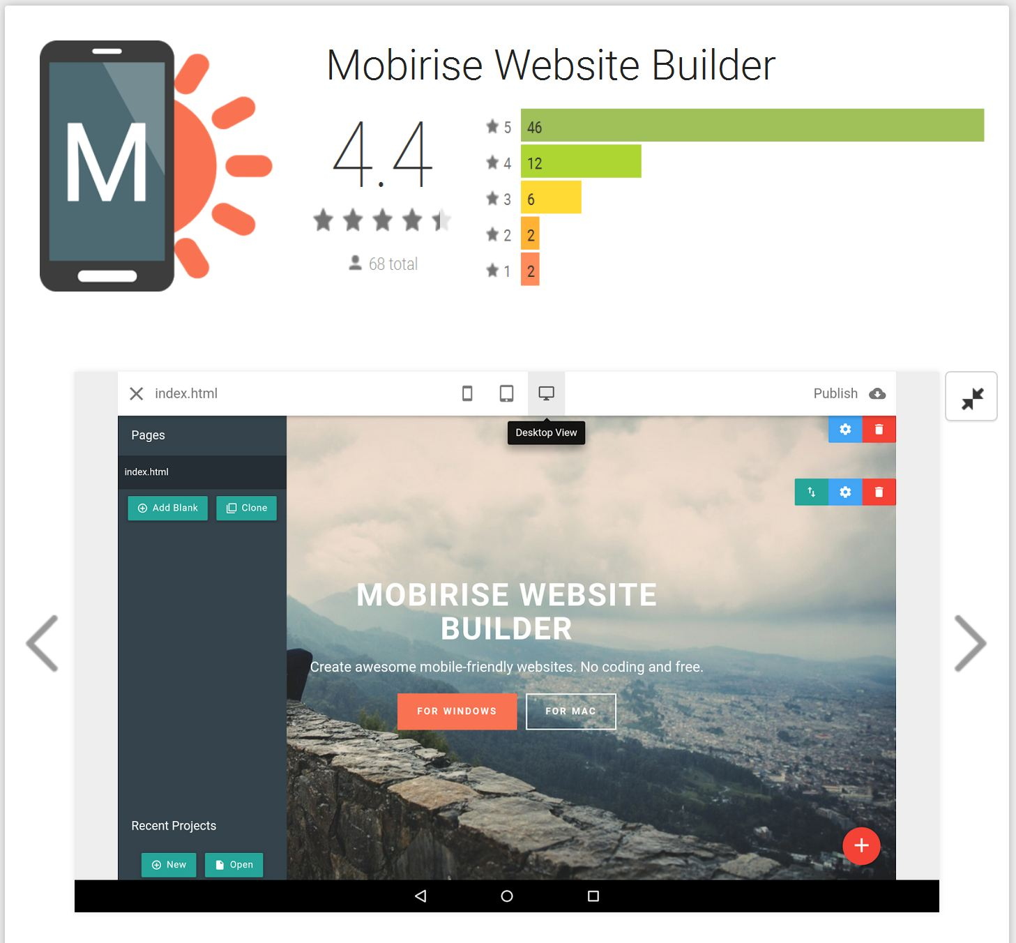 Android Version of Website Builder