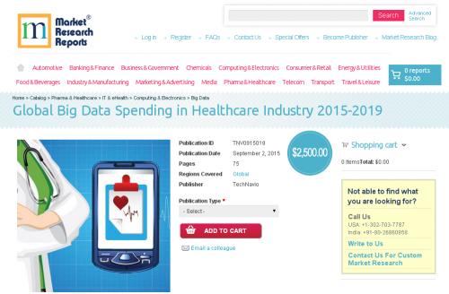 Global Big Data Spending in Healthcare Industry 2015-2019'